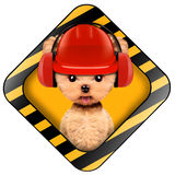 Funny puppy with tools holding construction warning sign. Funny puppy with hard hat and earphones inside construction warning sign, isolated on white. Repair and Royalty Free Stock Images