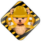 Funny puppy with tools holding construction warning sign. Funny puppy with hard hat helmet and cone inside construction warning sign, isolated on white. Repair Royalty Free Stock Image