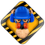 Funny puppy with tools holding construction warning sign. Funny puppy with hard hat, protective goggles, respirator and earphones inside construction warning Stock Image
