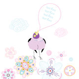 Funny purple bird on a floral background Stock Image