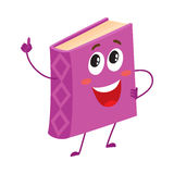 Funny purple book character pointing up with index finger. Funny book character pointing up with index finger, cartoon vector illustration isolated on white Royalty Free Stock Images