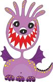 Funny purple cartoon monster Stock Images