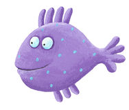 Funny purple fish Stock Photography