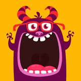 Funny purple horned cartoon monster wearing eyeglasses. Funny monster with mouth opened wide. Halloween vector illustration. Funny purple horned cartoon monster royalty free illustration