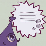 Funny purple monster with frame for text Stock Photography
