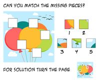 Funny puzzle game for children - mach the missing pieces into th. Funny puzzle game for children - add pieces into the picture of colorful baloons during summer Royalty Free Stock Image
