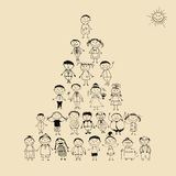 Funny Pyramid With Happy Big Family Smiling Royalty Free Stock Image