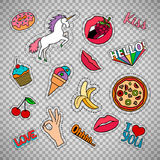Funny quirky food stickers set. Funny quirky colorful food stickers set with pizza, cherry, ice cream and words. Vector patches and badges  on transparent Royalty Free Stock Photos