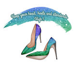 Funny Quotation on White background and stiletto shoes Stock Images