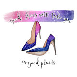 Funny Quotation on White background and stiletto shoes Stock Photo