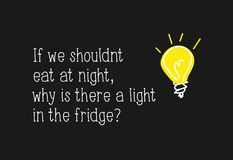 Funny quote saying about the light in the fridge and eating at night. Vector illustration design for posters, prints, graphics, vector illustration