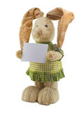 Funny Rabbit. A-straw rabbit in a green dress with the white nameboard in paws royalty free stock image