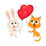 Funny rabbit, bunny and cat holding red heart shaped balloon Royalty Free Stock Photo