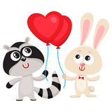 Funny rabbit, bunny and raccoon holding red heart shaped balloon Stock Photos