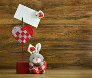 Funny rabbit with card holder Stock Image