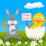 Funny Rabbit & Chick Wishing Happy Easter Stock Images
