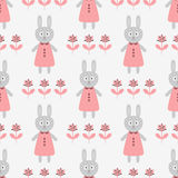 Funny rabbit in a dress and silhouettes of abstract flowers. Cartoon seamless pattern. Vector illustration. Pink, gray color Stock Image