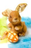 Funny rabbit with easter egg. Picture of a funny rabbit with easter egg Royalty Free Stock Photos