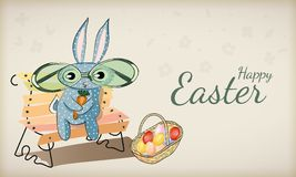 Funny rabbit with easter eggs Stock Photo