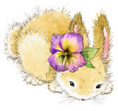 Funny rabbit and flower watercolor illustration. Cute bunny. funny rabbit and flower watercolor illustration Royalty Free Stock Photography