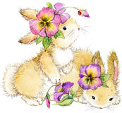 Funny rabbit and flower watercolor illustration. Cute bunny. funny rabbit and flower watercolor illustration Stock Photography