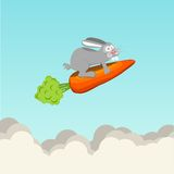 Funny rabbit flying on carrots, vector Stock Photos