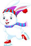 Funny rabbit on ice skates Royalty Free Stock Images