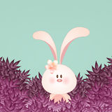 Funny rabbit with leaves Stock Image