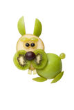Funny rabbit made of fruits stock photo