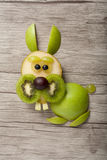 Funny rabbit made of green apple and kiwi Royalty Free Stock Image