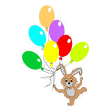 A funny rabbit with many colorful balloons Stock Image