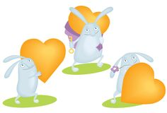 Funny rabbit with orange heart Royalty Free Stock Images
