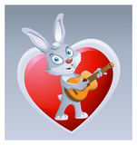 Funny rabbit playing guitar on the background of big red heart. Royalty Free Stock Photos