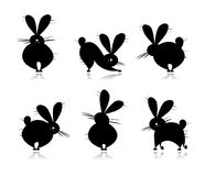Funny rabbit's silhouettes for your design Stock Image