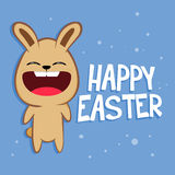 Funny Rabbit Shouting Happy Easter. Greetings, vector illustration Stock Image