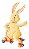 Funny rabbit skating. Acrylic illustration of boy skating Royalty Free Stock Images
