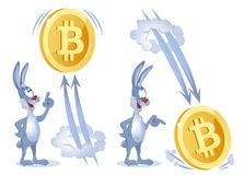 Funny rabbit watches as bitcoin soars up and falls down. Cartoon styled vector illustration. Elements is grouped. Isolated on white. No transparent objects Stock Image