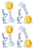 Funny rabbit watches as dollar and euro soars up and falls down. Cartoon styled vector illustration. Elements is grouped. Isolated on white. No transparent Stock Images