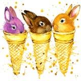 Funny Rabbit Watercolor Illustration Stock Image