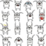 Funny rabbits (1). 16 smiley rabbits individually grouped for easy copy-n-paste. Vector Stock Photo