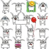 Funny rabbits (2). 16 smiley rabbits individually grouped for easy copy-n-paste. Vector Royalty Free Stock Photo