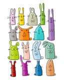 Funny rabbits collection for your design Stock Images