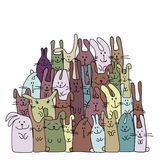 Funny rabbits family for your design Stock Image