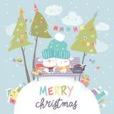 Funny rabbits friends celebrating Christmas. Vector illustration Stock Photos