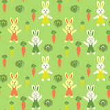 Funny rabbits and kitchen garden seamless pattern Stock Photos