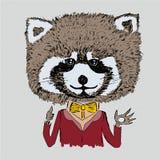Funny raccoon in burgundy jacket Stock Photo