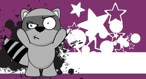 Funny raccoon cartoon background angry Royalty Free Stock Photography