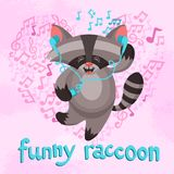 Funny Raccoon Poster Royalty Free Stock Images