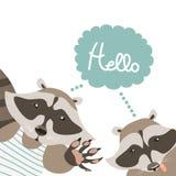 Funny raccoons say hello Stock Photo