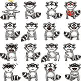 Funny racoons (1). 165 smiley racoons individually grouped for easy copy-n-paste. Vector Royalty Free Stock Images